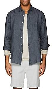 Hartford Men's Washed Linen Shirt - Charcoal