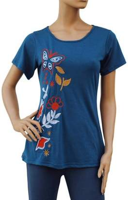 Faship Womens Embroidered Embroidery Floral Butterfly Stretch T-Shirt Top Tee Blouse
