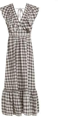 LEE MATHEWS Edith gingham V-neck linen dress