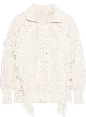 Burberry Fringed Cable-knit Cotton-blend Sweater