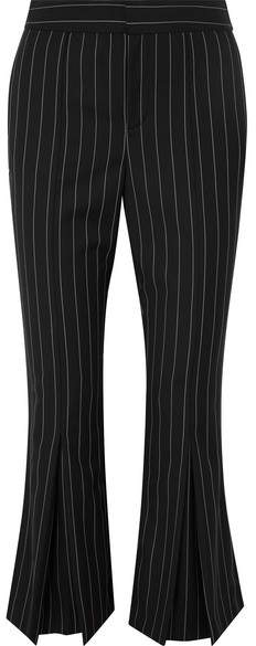 Cropped Pinstriped Wool-blend Flared Pants - Black
