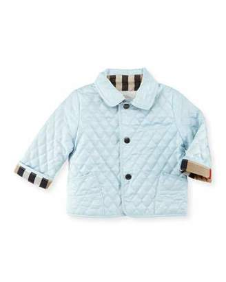Burberry Colin Quilted Check-Trim Jacket, Porcelain, Size 6-18 Months $185 thestylecure.com
