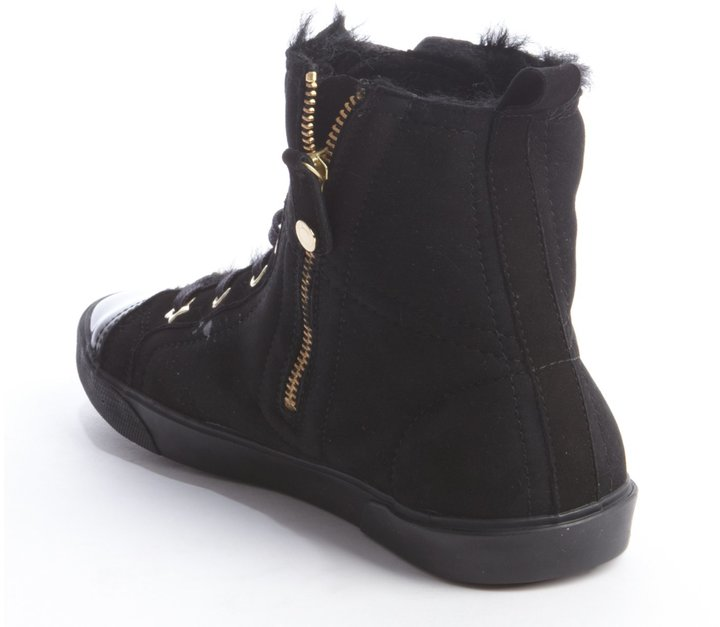 Jimmy Choo Black Suede And Shearling Fur Lace-Up Sneakers