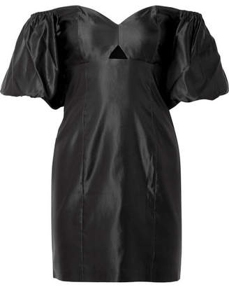 Caroline Constas Titos Off-the-shoulder Cotton And Silk-blend Satin Mini Dress - Black
