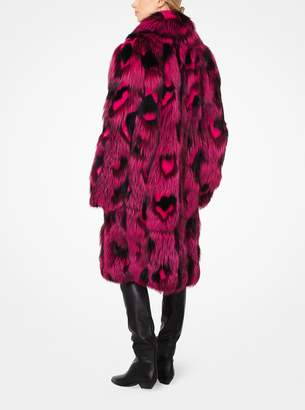 Michael Kors Leopard Intarsia Fox and Mink Coat