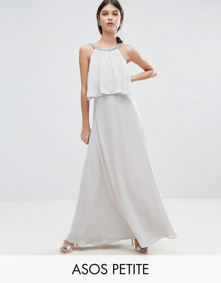 AsosASOS Petite ASOS PETITE Embellished Strap Back Crop Top Maxi Dress