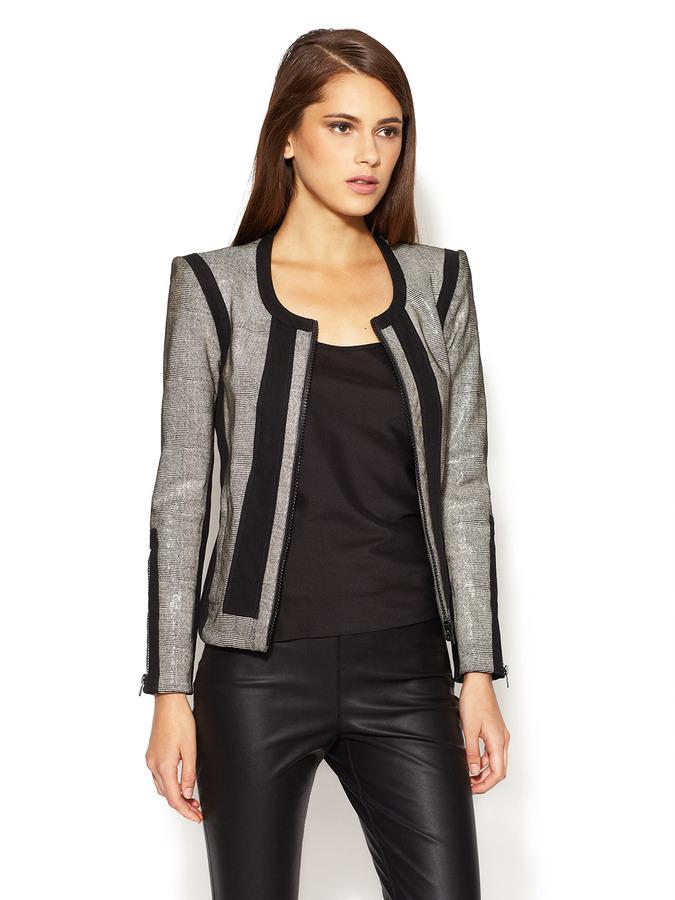 Helmut Lang Rift Stretch Embossed Leather Jacket