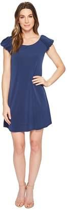 CeCe Puffed Short Sleeve Crepe Knit Dress Women's Dress