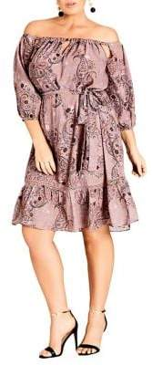 City Chic Plus Luxe Paisley Off-The-Shoulder Dress