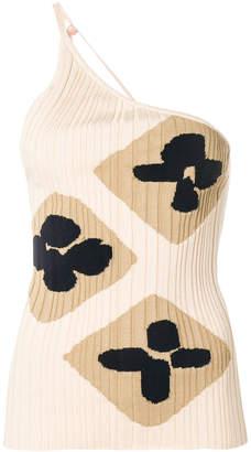 one-shoulder patterned top