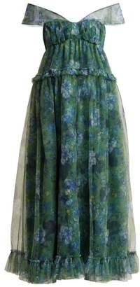 Erdem Pia Elizabeth Garden Print Tulle Dress - Womens - Green Print