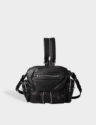 Alexander Wang Mini Marti Backpack in Black Lambskin Leather with Silver Finish