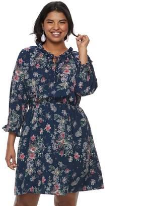 Wrapper Juniors' Plus Size Floral Peasant Dress