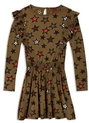Scotch R'Belle Girls' Long Sleeve Star Print Dress - Little Kid, Big Kid