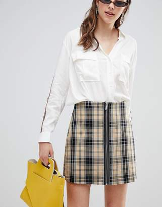 Stradivarius Check A Line mini skirt