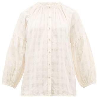 Apiece Apart Nanook Collarless Check Jacquard Cotton Top - Womens - Cream