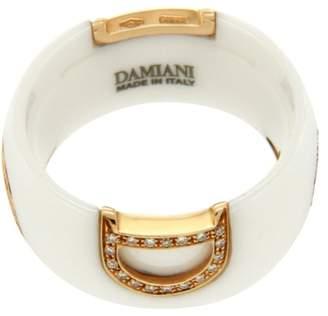 Damiani D-Icon Ceramic & 18K Rose Gold Diamond Band Ring Size 6