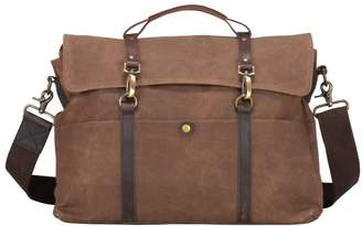 EAZO - Classic Waxed Canvas Laptop Messenger Bag in Brown