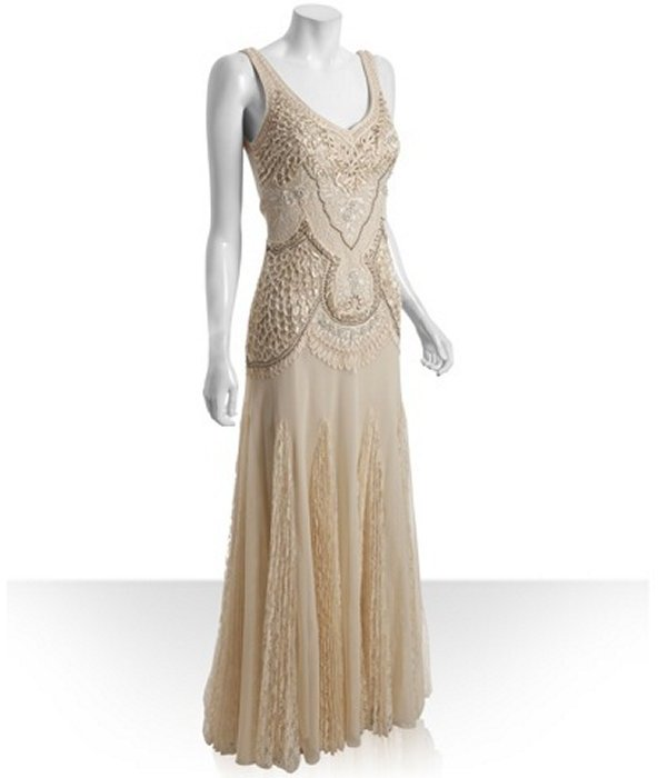 Sue Wong champagne ribbon trim beaded gown