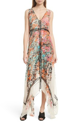 Women's Tracy Reese Print Silk Handkerchief Hem Maxi Dress $498 thestylecure.com