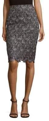 St. John Embroidered Knee-Length Skirt
