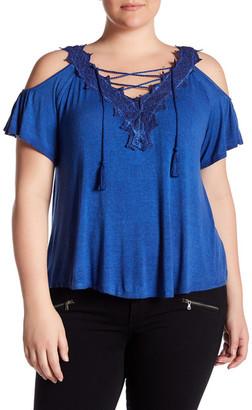 Jessica Simpson Kiki Cold Shoulder Short Sleeve Shirt (Plus Size) $69.50 thestylecure.com