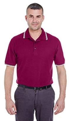 ULTRACLUB UltraClub Men's Short-Sleeve Whisper Pique Polo with Tipped Collar and Cuffs 8545