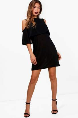 boohoo Phoebe Cold Shoulder Double Layer Knit Dress
