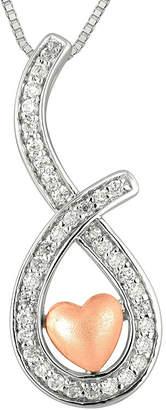 FINE JEWELRY 1/4 CT. T.W. Diamond Sterling Silver & 10K Rose Gold Heart Teardrop Pendant