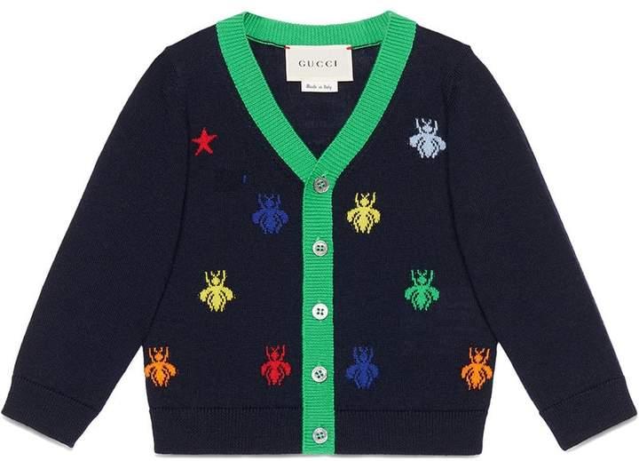 Gucci Kids Baby bees and stars jacquard merino cardigan