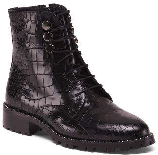 Made In Spain Croco Combat Patent Leather Booties