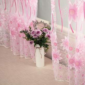 Goodtrade8 Sheer Curtain, 2 Panel, Clearance Beautiful Elegance Sun Flower Voile Door Curtain Window Curtain Room Divider, Home Decor Summer Curtains for Living Room Bedroom