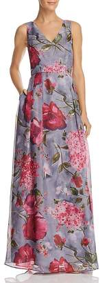 Adrianna Papell Floral Organza Gown
