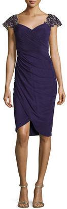 La Femme Embellished Cap-Sleeve Cocktail Dress $378 thestylecure.com
