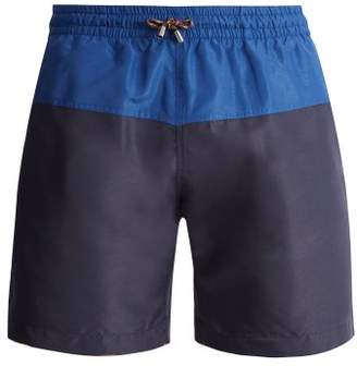 Stella McCartney Mid Rise Panelled Swim Shorts - Mens - Blue Multi