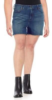 NYDJ Plus Plus Frayed Denim Shorts