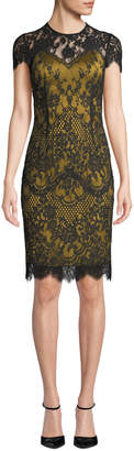 Catherine Deane Libba Cap-Sleeve Lace Dress