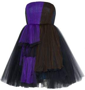 DELPOZO Strapless Metallic Color-Block Silk-Blend Tulle Dress