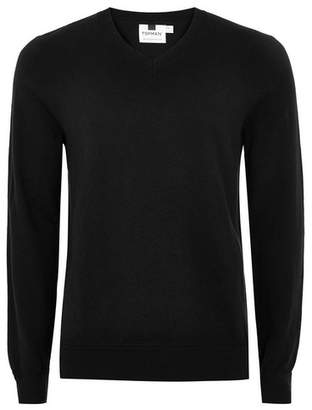 Topman Mens Black V Neck Hem Stitch Sweater