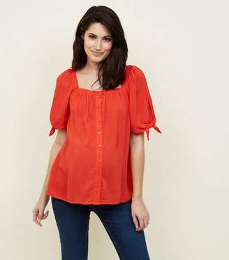 New Look Maternity Red Square Neck Button Front Top