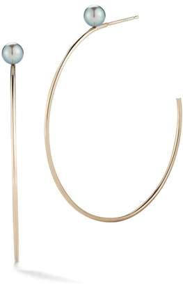 Mizuki Genuine Black Pearl Small Hoop Earrings