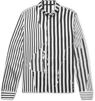 Haider Ackermann Button-Down Collar Striped Silk-Twill Shirt