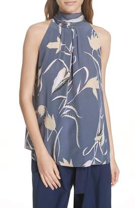 Diane von Furstenberg Sleeveless High Neck Silk Blouse