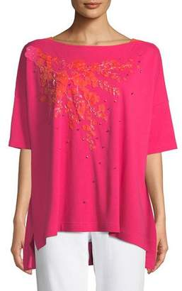 Joan Vass Boat-Neck Short-Sleeve Big Tee w/ Floral Applique & Beading