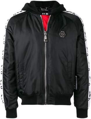 Philipp Plein X Playboy side logo stripe hooded jacket