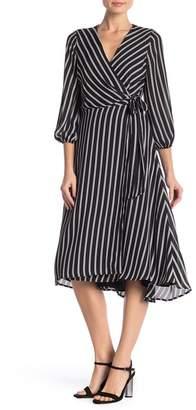 S.H.E. Striped 3\u002F4 Sleeve Wrap Dress
