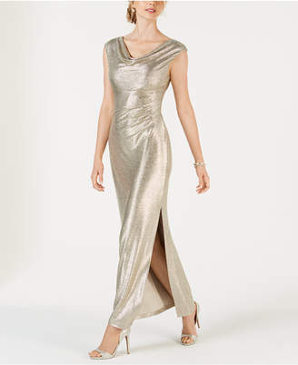 Connected Metallic Cowl-Neck Gown
