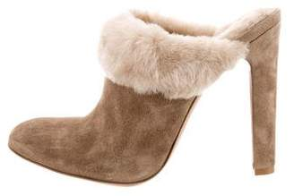 Gianvito Rossi Suede Shearling Mules