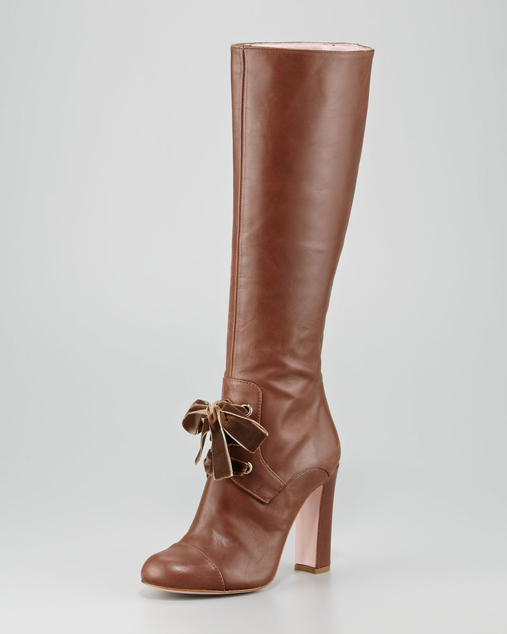 RED Valentino Lace-Front Leather Knee Boot