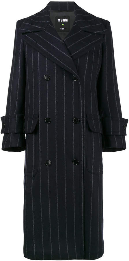 MSGM pinstripe oversized coat with fur belt